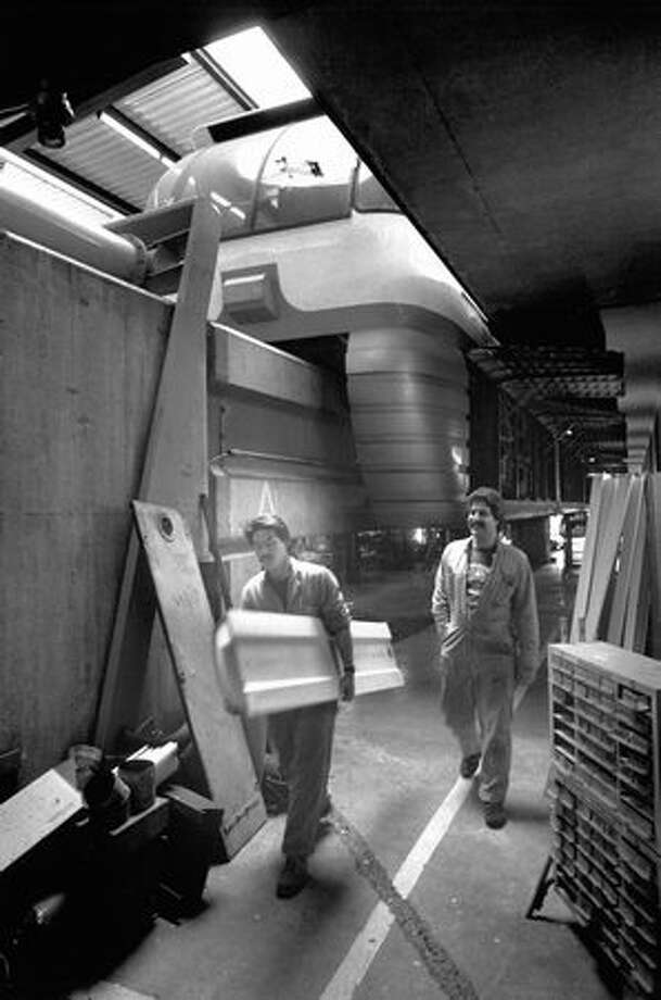 A May 1991 photo of the Monorail maintenance shop at the Seattle Center. Photo: P-I File