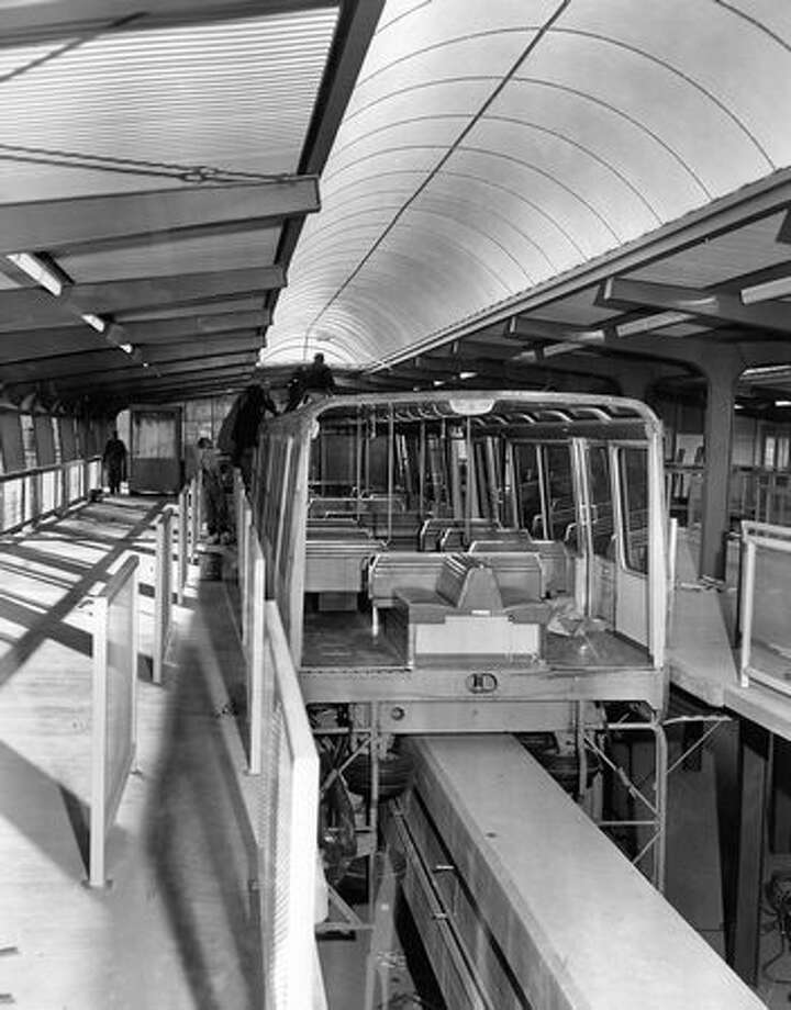 The Seattle Center Monorail terminal during construction, Feb. 20, 1962. Photo: P-I File