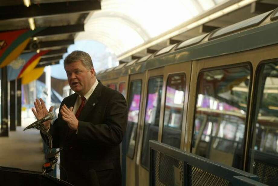 Seattle Mayor Greg Nickels at the Seattle Center Monorail station, Feb. 9, 2006. Photo: P-I File