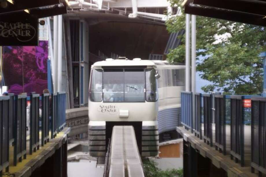 The Monorail arrives at Seattle Center, Oct. 5, 1999. Photo: P-I File