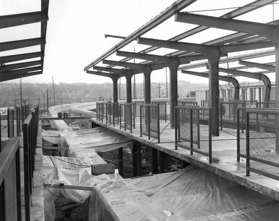 Construction of the Seattle Center Monorail station, Jan. 9, 1962. (Phil H. Webber/Seattlepi.com file) Photo: P-I File