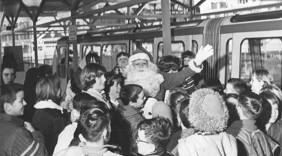 Santa Claus on the Monorail December 1964. Photo: P-I File
