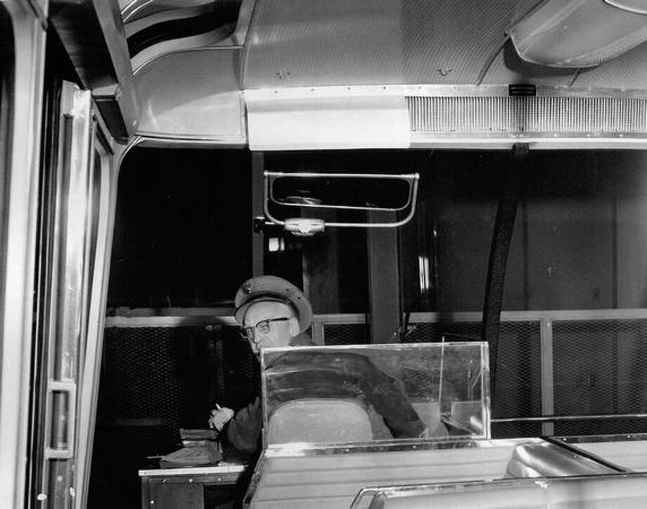 Monorail driver Jacob Weiand, Nov. 29, 1962. Photo: P-I File