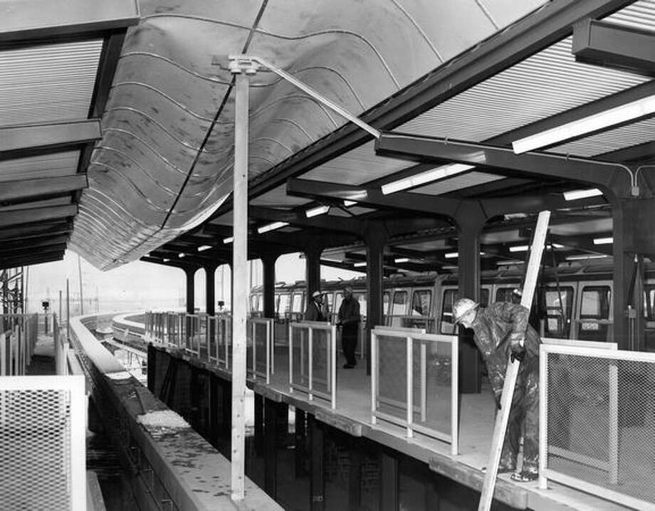 The Seattle Center Monorail station collapsed under weight of snow, February 1962. Photo: P-I File