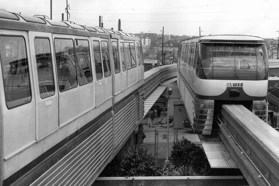 This is the first P-I photograph of two monorail trains operating side by side, April 1962. Photo: P-I File