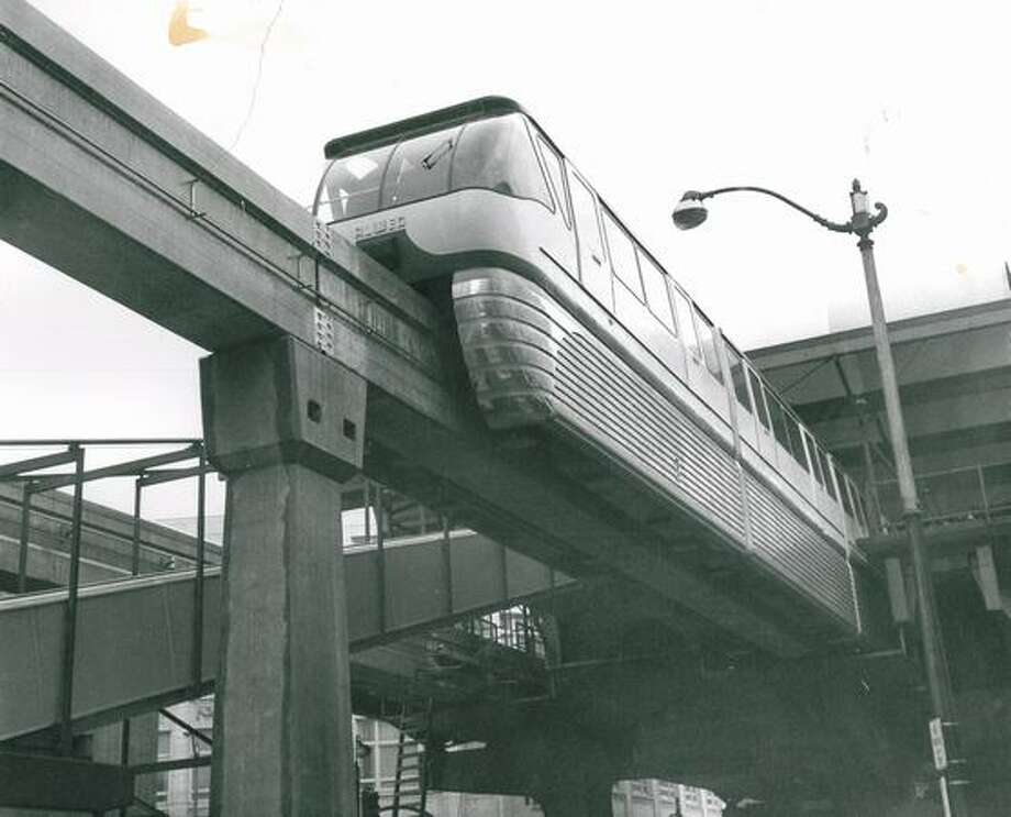 The Monorail during an early run, March 5, 1962. Photo: P-I File