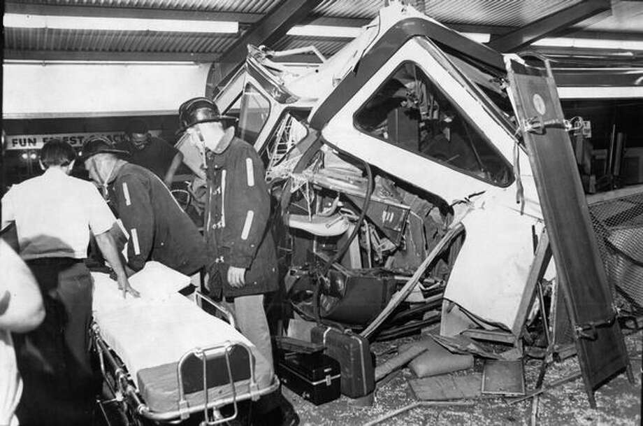 Wreckage of a Monorail train after a July 1971 crash at Seattle Center. Photo: P-I File