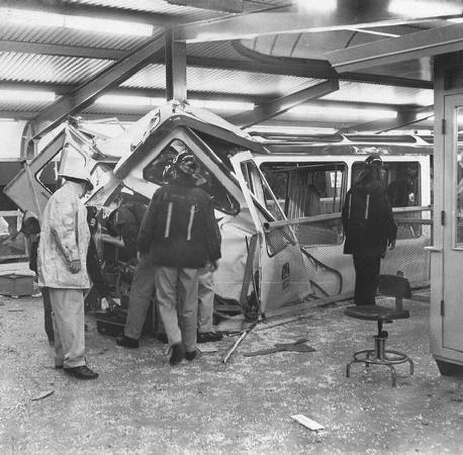 The front of a Monorail train slammed into a steel beam at Seattle Center, July 25, 1971. Photo: P-I File