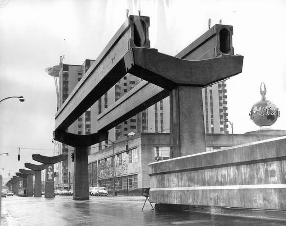 Monorail near former Seattle P-I building,  Nov. 28, 1961. Photo: P-I File