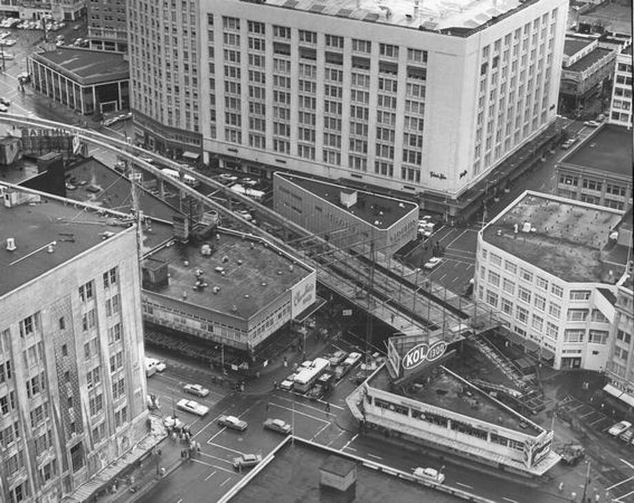 An aerial photo of the Monorail, Jan. 1962. Photo: P-I File