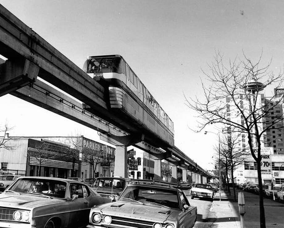 The red Monorail train makes the trip from downtown to the Seattle Center in less than two minutes. Date unknown. Photo: P-I File