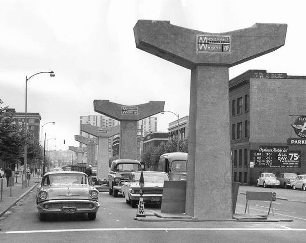 Monorail pylons, June 20, 1961.