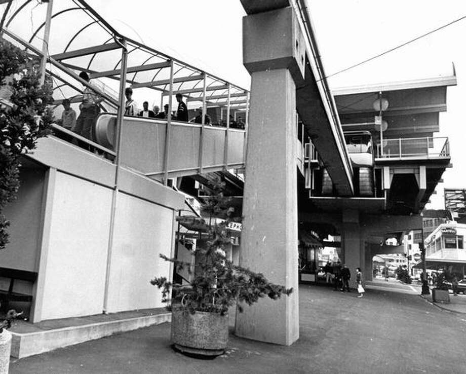 The Westlake Monorail station, March 26, 1975. Photo: P-I File