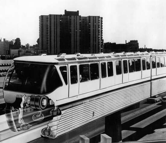 A 1962 Firestone illustration of the Seattle Monorail showing how the tires ride on the concrete tracks. Photo: P-I File