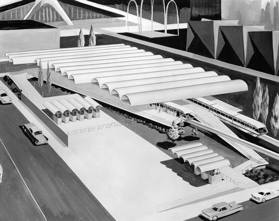 A March 1961 proposal for the Seattle Center Monorail station. Photo: P-I File