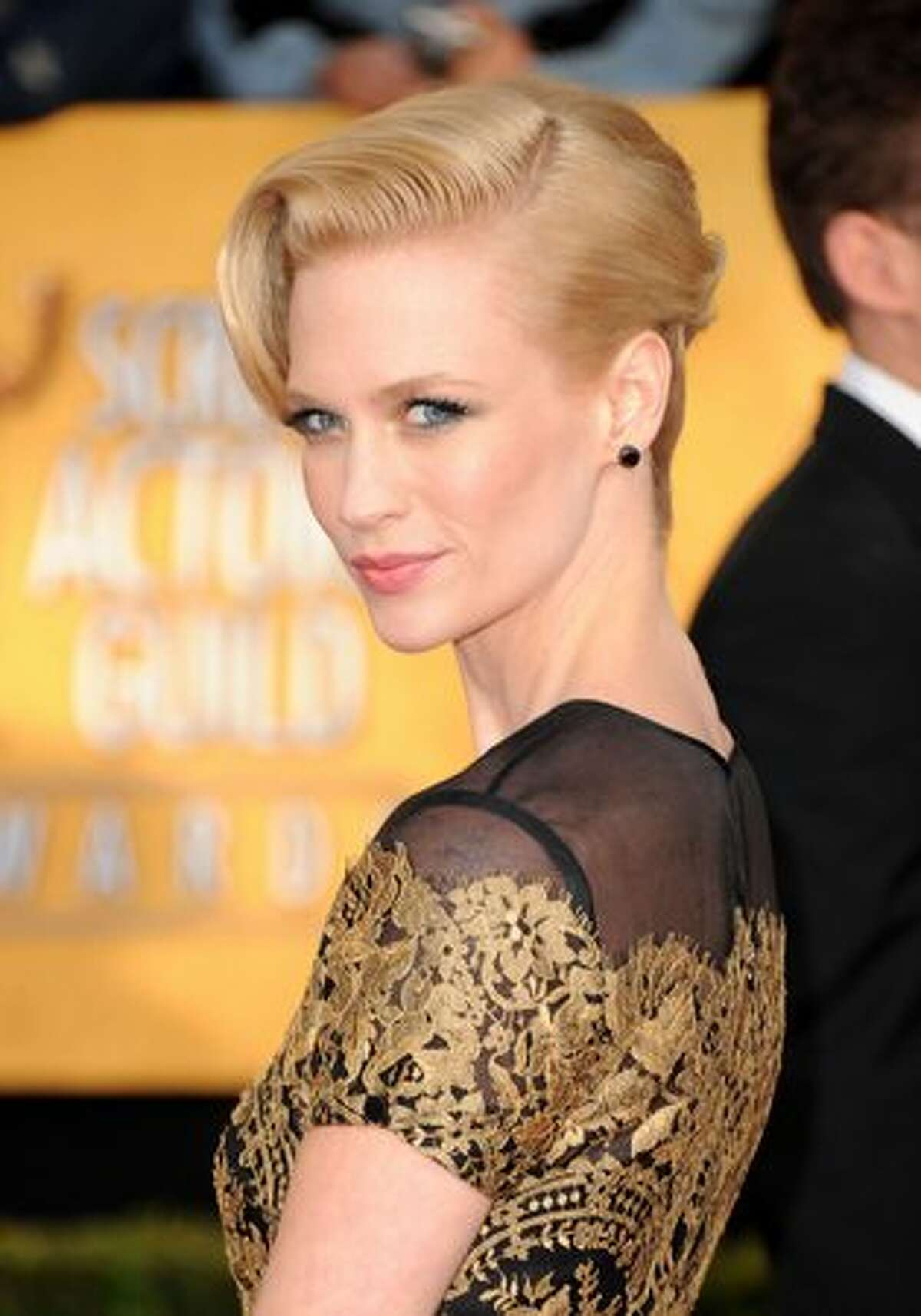 Actress January Jones arrives at the 17th annual Screen Actors Guild Awards held at The Shrine Auditorium in Los Angeles on Sunday, Jan. 30, 2011.