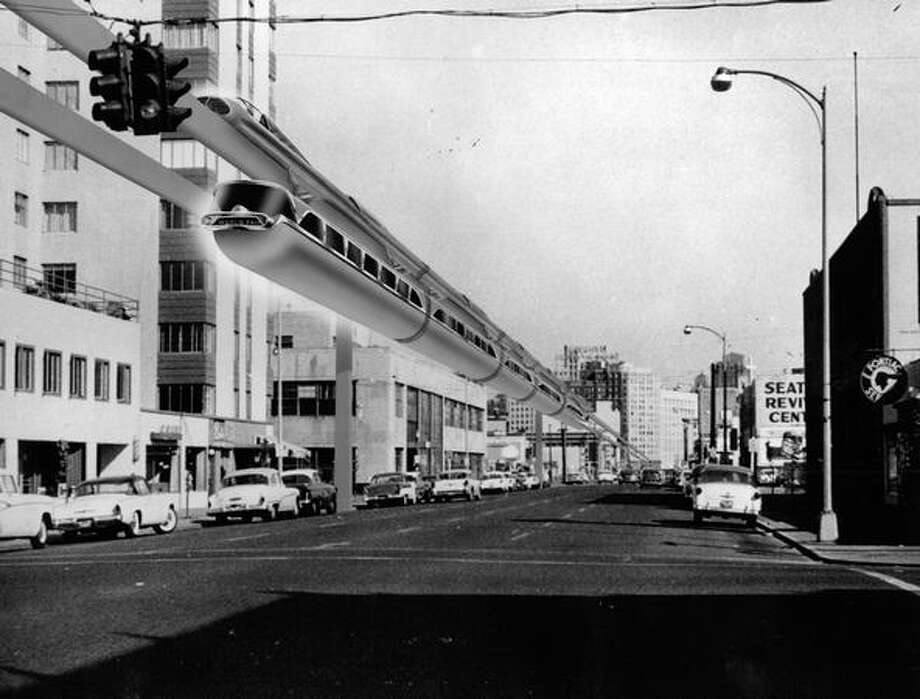 A 1958 proposal of the Seattle Monorail track. Photo: P-I File