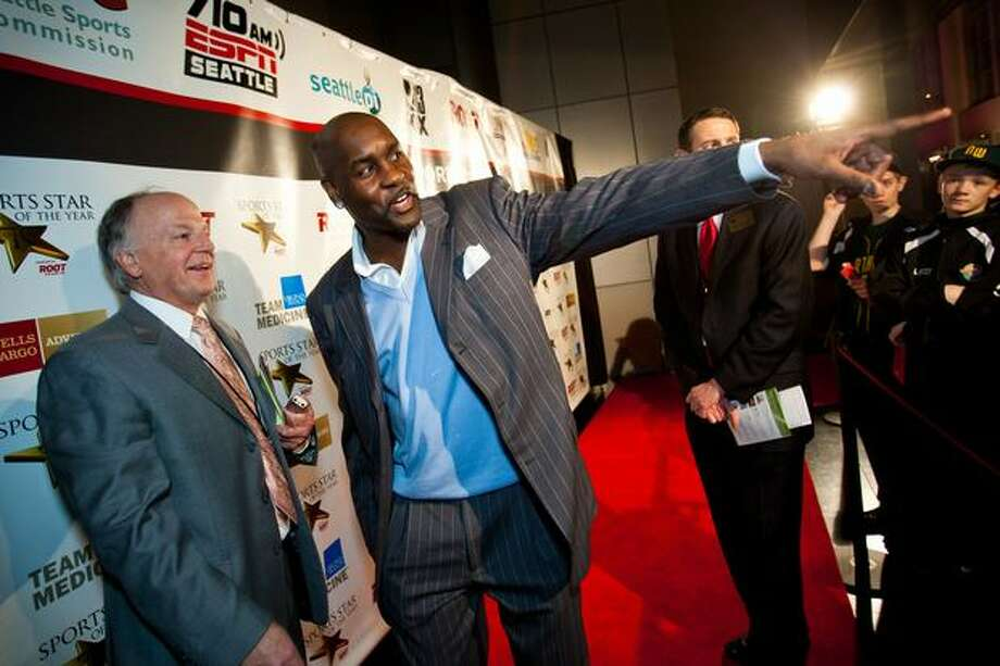 Seattle Supersonics all-time great Gary Payton chats upon arriving at the 76th Annual Sports Star of the Year, presented by ROOT SPORTS, at Benaroya Hall in Seattle Wednesday, Jan. 26, 2011. The evening honors Northwest sports stars, carrying on an annual tradition started by Seattle Post-Intelligencer sports editor Royal Brougham in 1936. Photo: Dan DeLong, RedBox Pictures