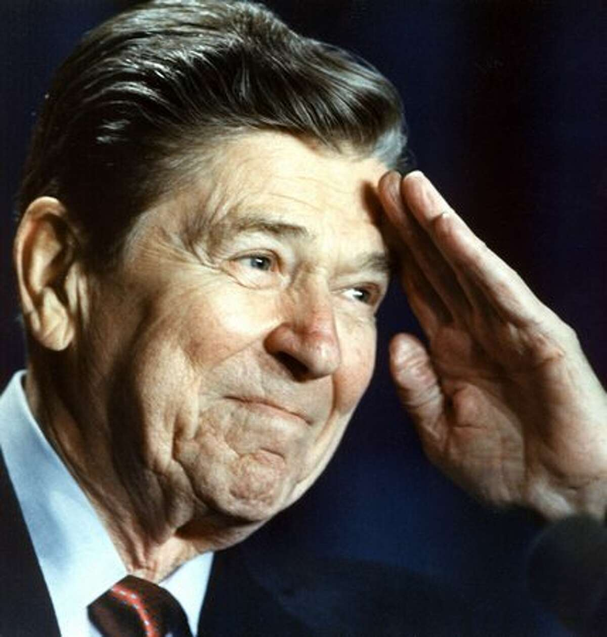Ronald Reagan salutes members of the Reserve Officers Association on Jan. 27, 1988. He spoke about the need to renew U.S. assistance to the Nicaraguan Contra rebels.