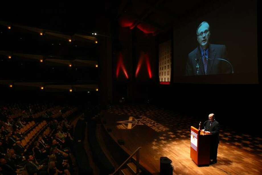 Paul Allen speaks after receiving the Sports Citizen of the Year award during the 76th annual Sports Star of the Year Awards on Wednesday at Benaroya Hall in Seattle. Allen is owner of the Seattle Seahawks and co-owner of the Seattle Sonders. He also owns the Portland Trailblazers. The citizen award was renamed the Paul Allen Award. Photo: Joshua Trujillo, Seattlepi.com