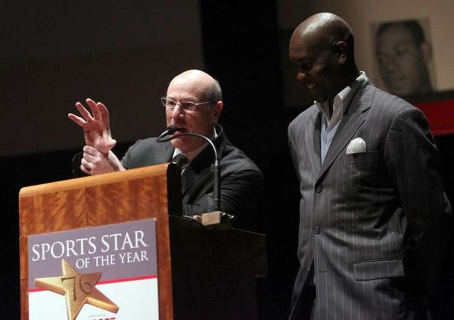 "Kevin Calabro introduces ""The Glove,"" former SuperSonic Gary Paytonn during the 76th annual Seattle Sports Star of the Year Awards on Wednesday at Benaroya Hall in Seattle. Photo: Joshua Trujillo, Seattlepi.com"