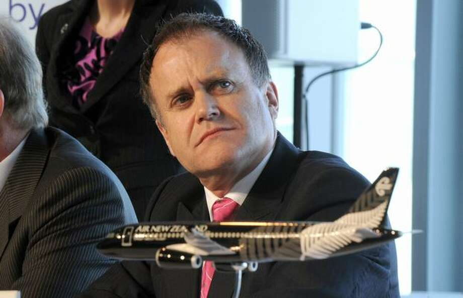 Air New Zealand Financial Chief Executive Officer Rob McDonald attends a press conference on January 28, 2011 in Colomiers, France, during the first delivery of an A320 Airbus painted with the logo of New Zealand rugby national team, the All Blacks. Photo: Getty Images