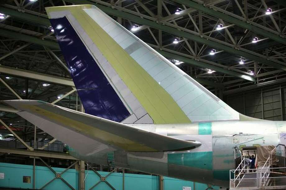 The tail on a 747-8 Intercontinental is shown during a tour of the Boeing 747-8 Intercontinental and Freighter assembly line on Saturday, February 12, 2011 at the Boeing plant in Everett. Photo: Joshua Trujillo, Seattlepi.com