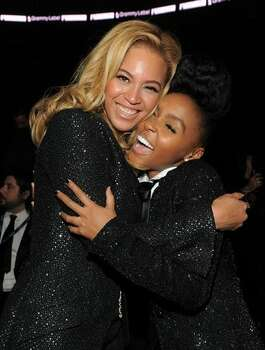 Singers Beyonce and Janelle Monae attend The 53rd Annual GRAMMY Awards held at Staples Center in Los Angeles, California. Photo: Getty Images