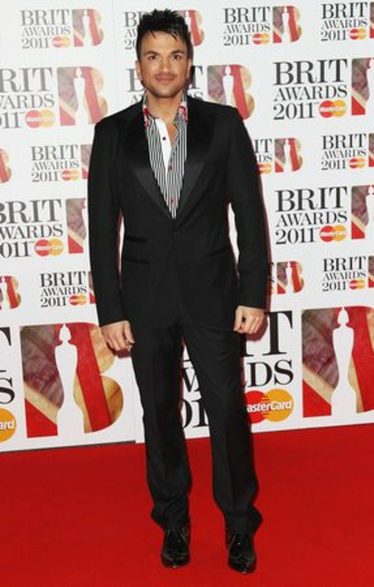 Peter Andre attends The Brit Awards 2011 held at The O2 Arena in London, England.