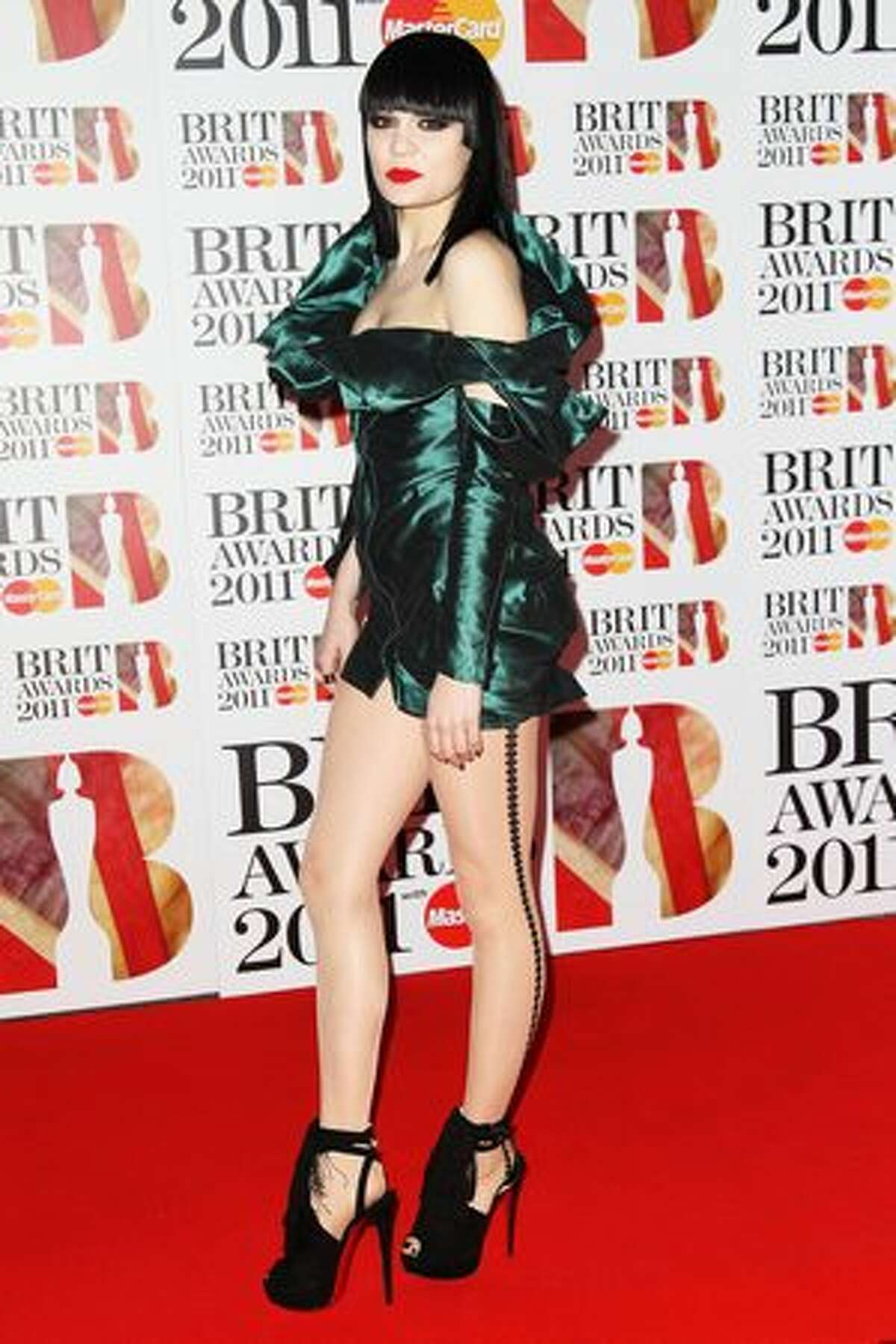 Jessie J attends The Brit Awards 2011 held at The O2 Arena in London, England.
