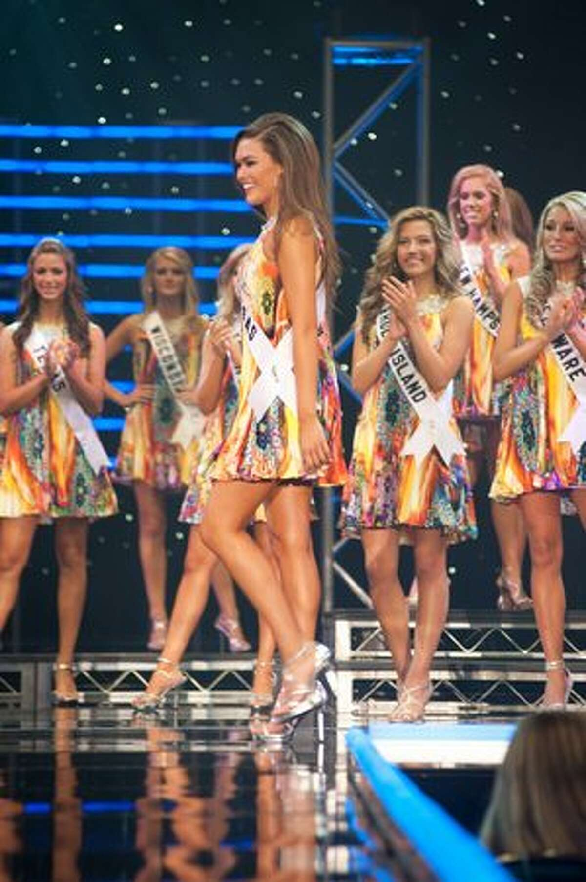 Megan Burgess, Miss Arkansas Teen USA 2010, in fashion by Sherri Hill, is selected as one of the top 15 finalists Saturday during the Miss Teen USA 2010 Finals Show at ATLANTIS, Paradise Island, Nassau, Bahamas.