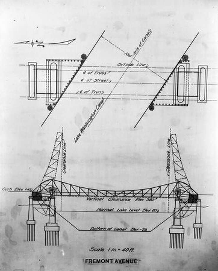 Plans for the current Fremont Bridge, 1914. (Seattle Municipal Archives/165) Photo: P-I File