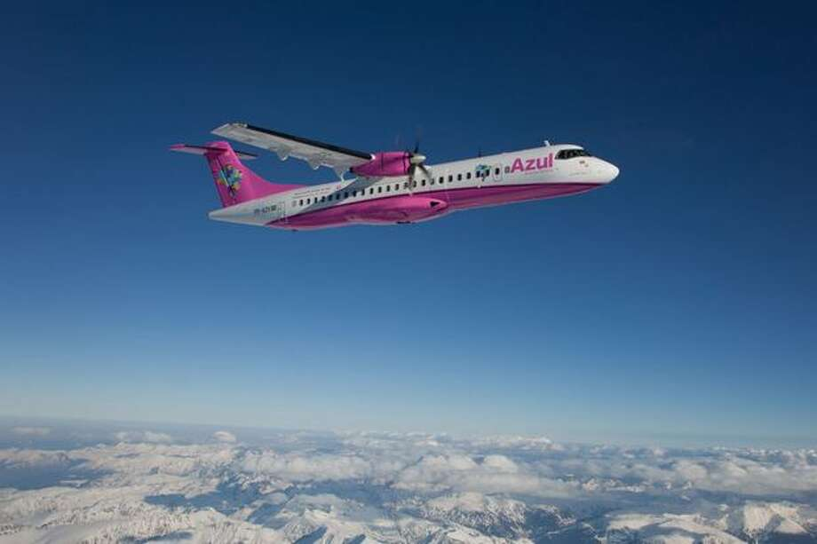 An ATR 72 turboprop aircraft for Brazil's Azul Linhas Aéreas painted pink, to promote breast cancer awareness and FEMAMA, a Brazilian non-profit organization dedicated to fighting the disease. (ATR)