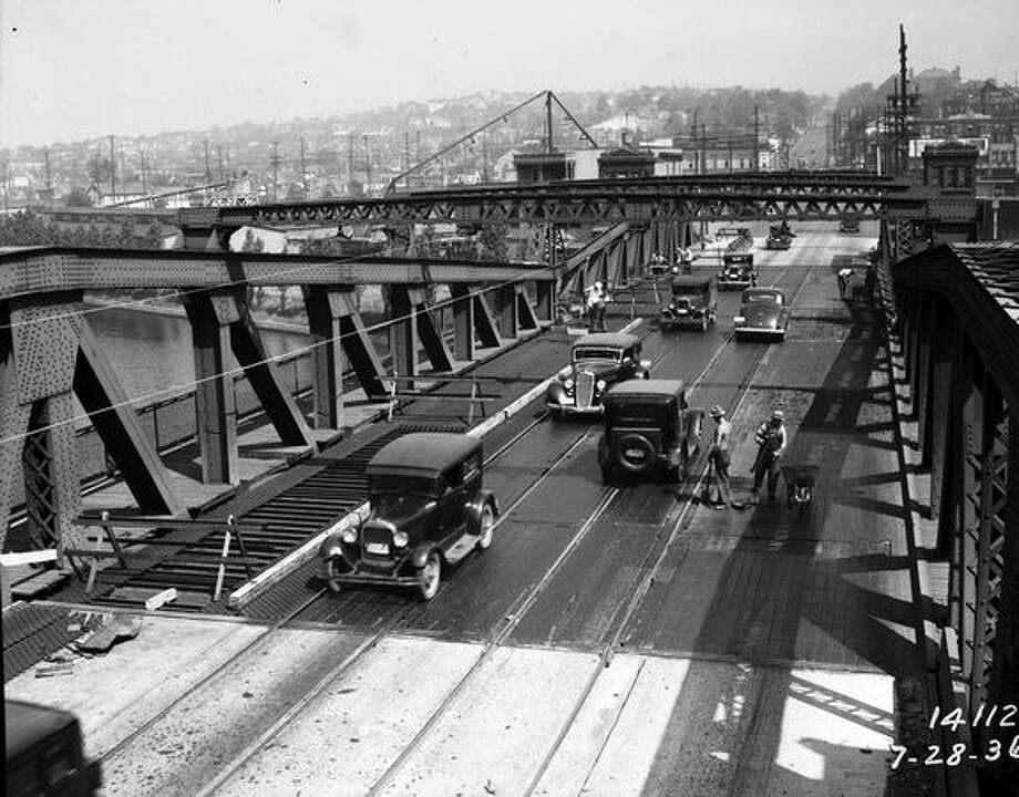 Re-decking the Fremont Bridge, July 1936. (Seattle Municipal Archives/10763 Photo: P-I File