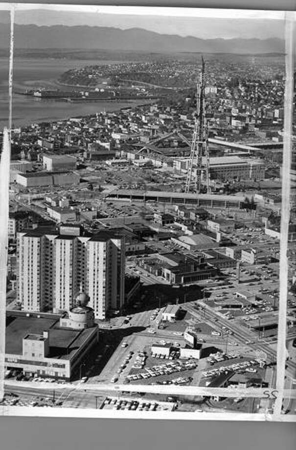 A photo of Space Needle construction, 1961. Photo: P-I File