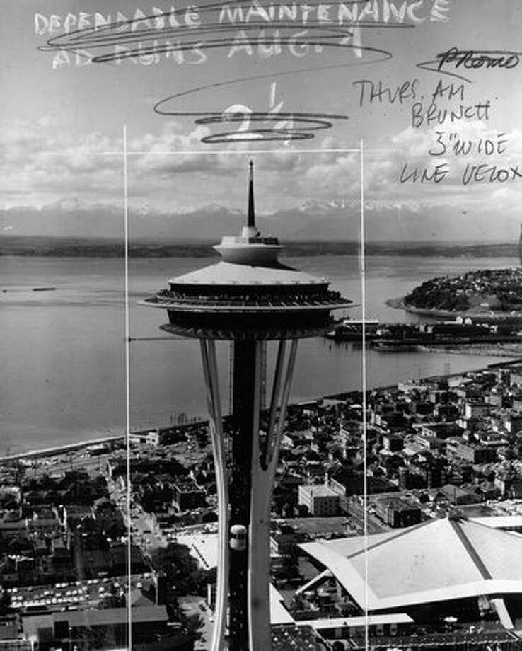 The Space Needle, Oct. 18, 1964. The marks on the photo were made by Seattle P-I photo editors. Photo: P-I File