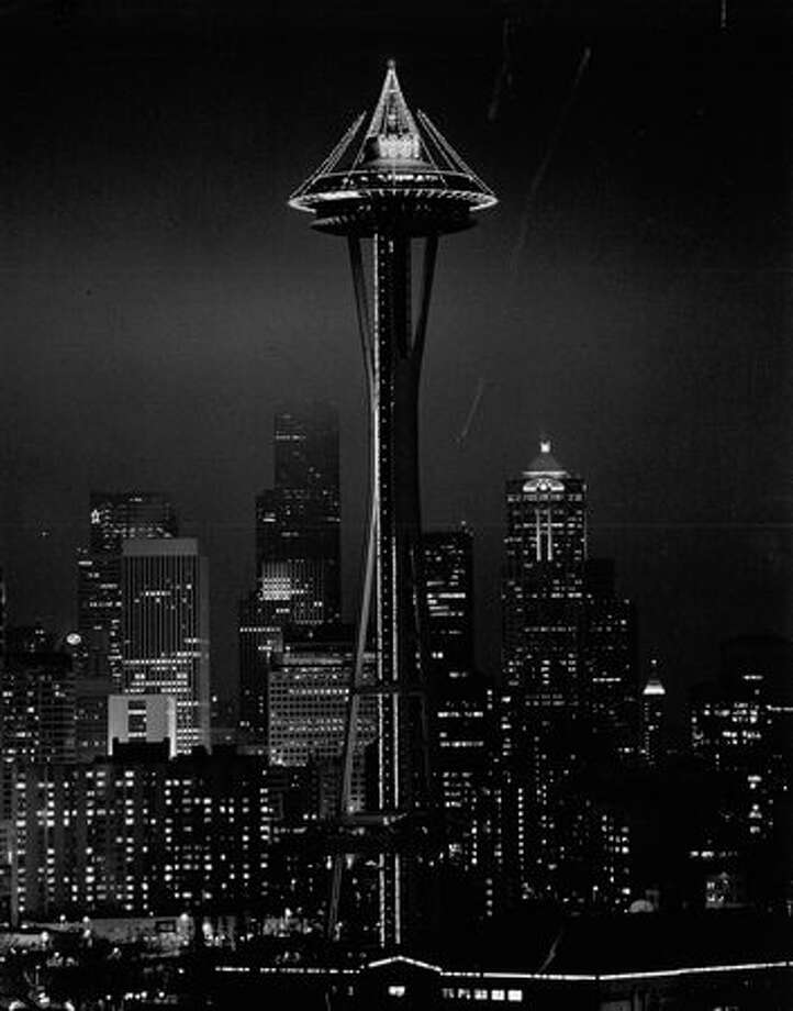 "The December 1990 photo caption read: The Space Needle is the site of a giant ""Times Square of the West"" party New Years Eve. Photo: P-I File"