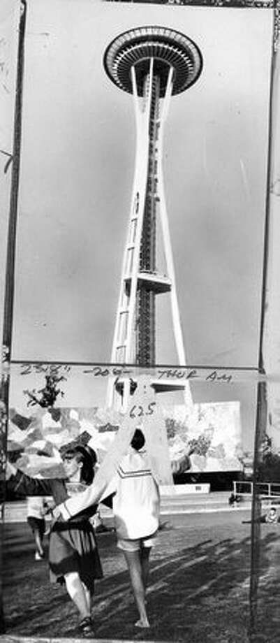 The Space Needle and Seattle Center grounds, July 12, 1974. The marks on the photo were made by Seattle P-I photo editors. Photo: P-I File