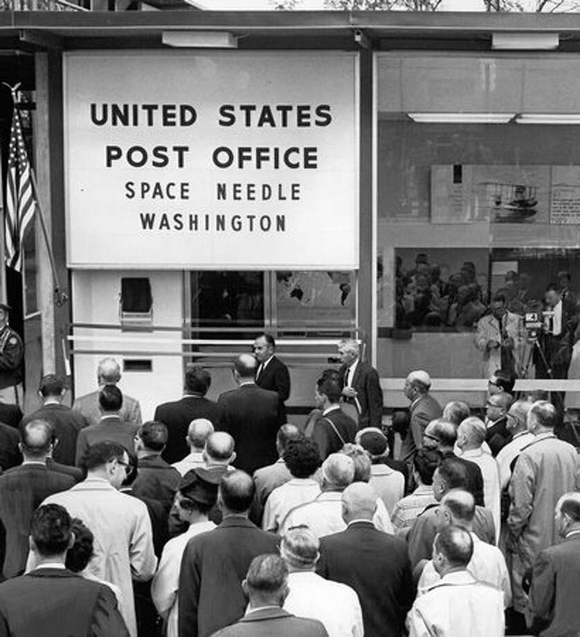 The Space Needle had a post office, which was dedicated April 25, 1962, the day this photo was taken. Photo: P-I File