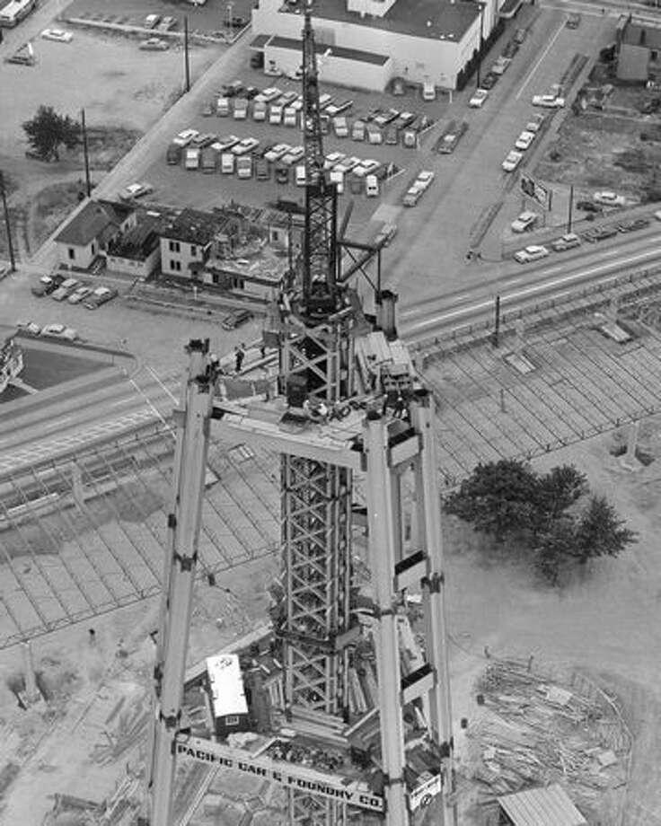 Space Needle construction, 1961 Photo: P-I File