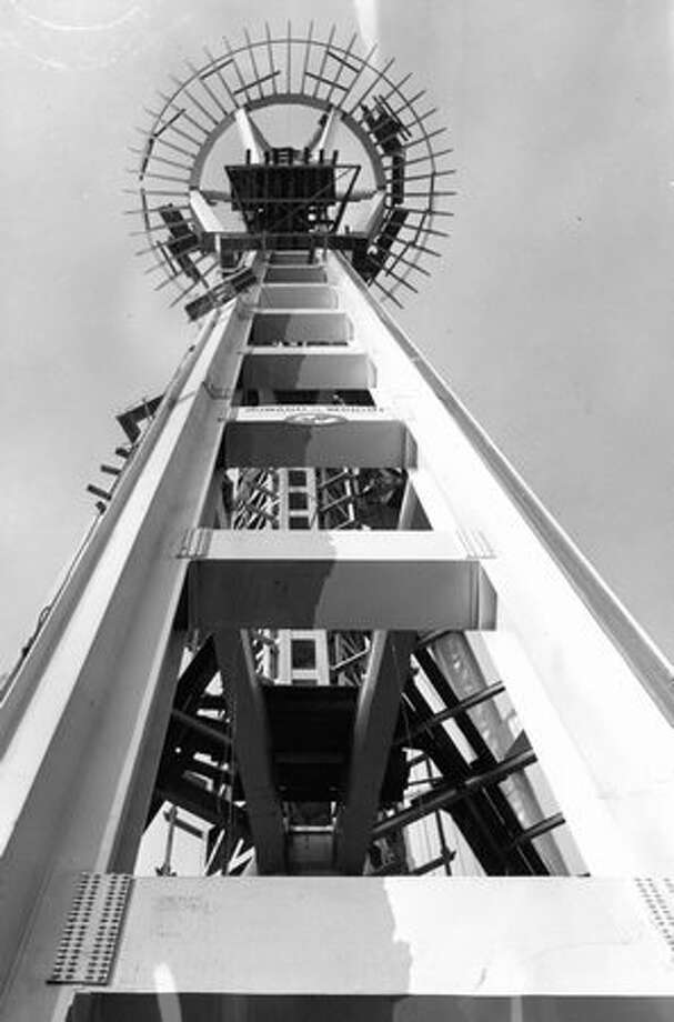The Space Needle being built, November 1961. Photo: P-I File