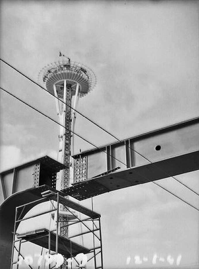 Space Needle and Monorail construction, 1961. (Seattle Municipal Archives/70399) Photo: P-I File