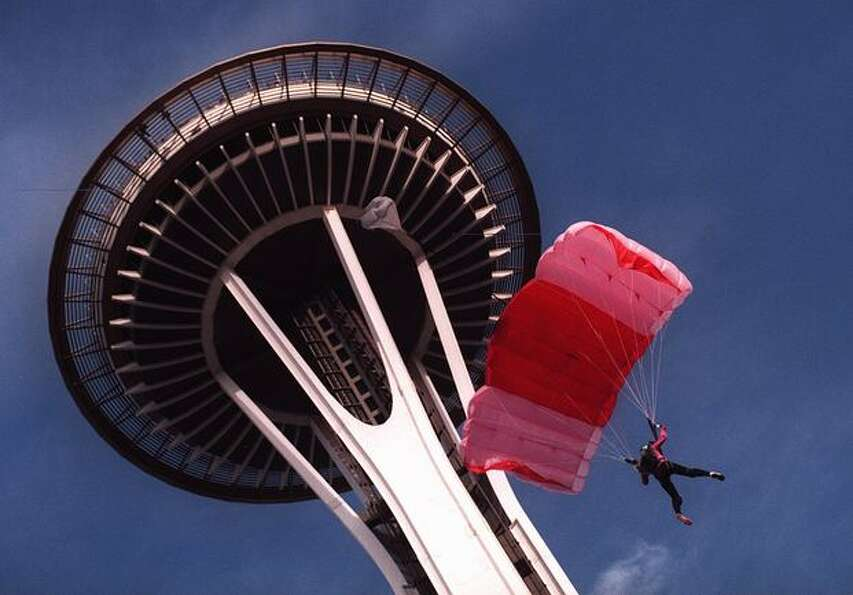 Jessica Kluetmeier parachutes from the Space Needle, November 1997. She was taken to Harborview Medi