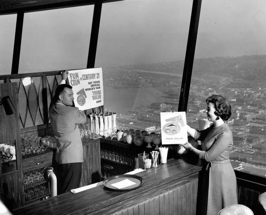 The restaurant at the top of the Space Needle, April 3, 1962. Photo: P-I File