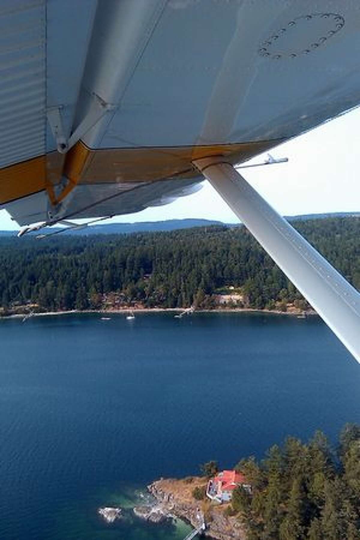 The from a Kenmore Air de Havilland Beaver shortly after takeoff from Ganges, B.C., to Lake Union, in Seattle, Wa.