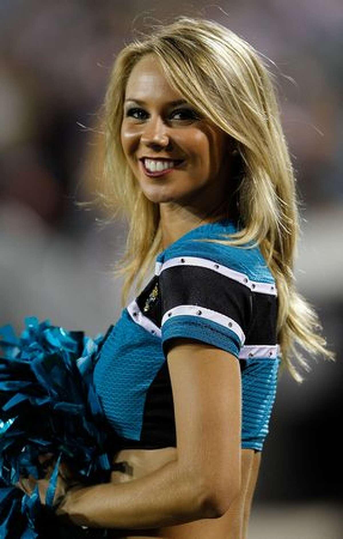 A cheerleader for the Jacksonville Jaguars.