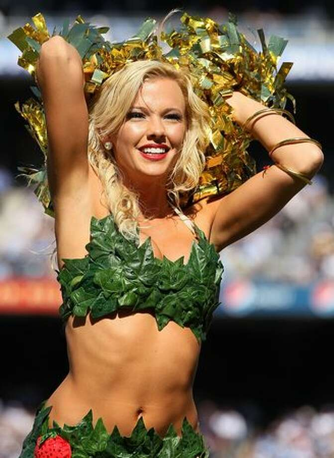 A San Diego Chargers cheerleader on Halloween. Photo: Getty Images