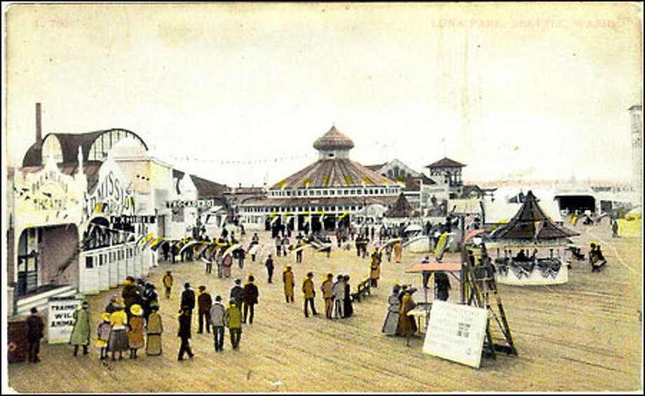 Coney Island of the West, 1910: Luna Park, built on a pier along Duwamish Head in 1907, was crowded with rides, amusements, an indoor swimming pool and a bar. The attraction faded under the watchful eye of the city's moralists and the park closed in 1913. Photo: Seattle Post-Intelligencer