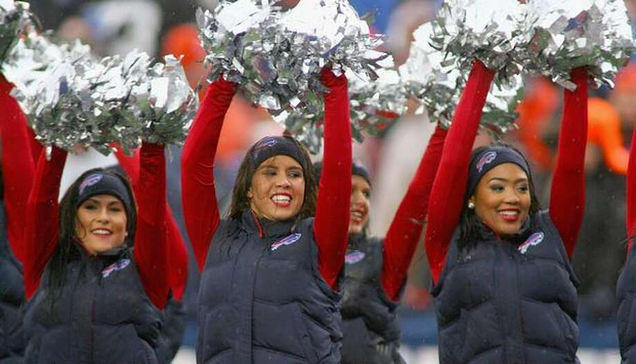 Members of the Buffalo Jills cheerleaders dance during a timeout at a Buffalo Bills game. Photo: Getty Images