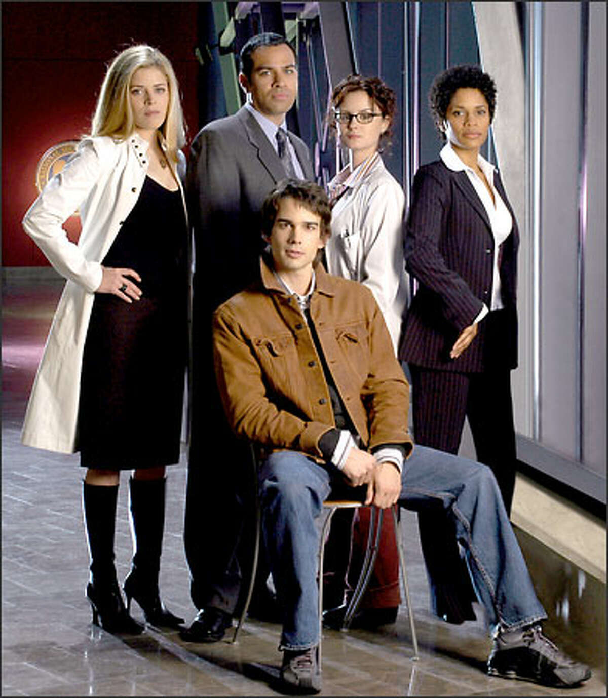 From left, standing, Marina Black, Phillip Anthony-Rodriguez, Keegan Connor Tracy and Judith Scott, and seated, Christopher Gorham comprise the primary cast of